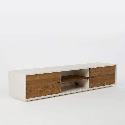 Nice White Media Console Furniture. Reclaimed Wood White Lacquer Media Console  Furniture