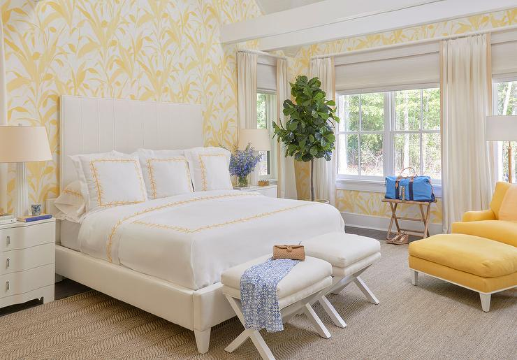 Superior White And Yellow Bedroom With Yellow Chair And Ottoman