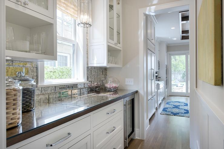 Bar And Butlers Pantry With Mirrored Subway Tiles