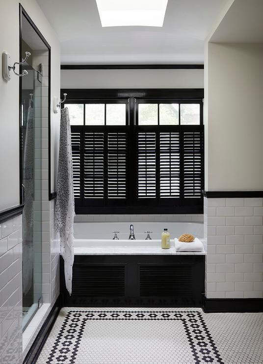 Glossy Black Niche Shelves Over Bathtub Traditional