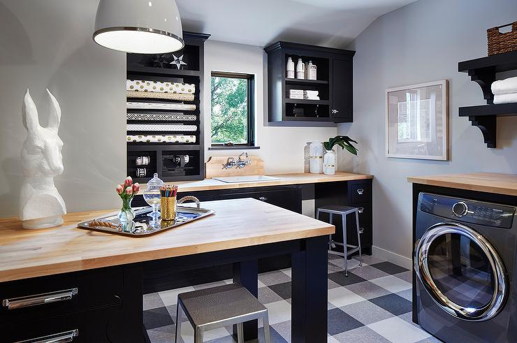 Black And White Craft Room And Laundry Room Combo