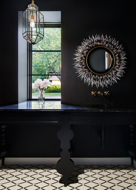 Bathroom With Black And White Chevron Tiles Contemporary