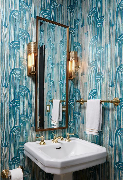 Blue Powder Room With Brass Towel Holder Contemporary