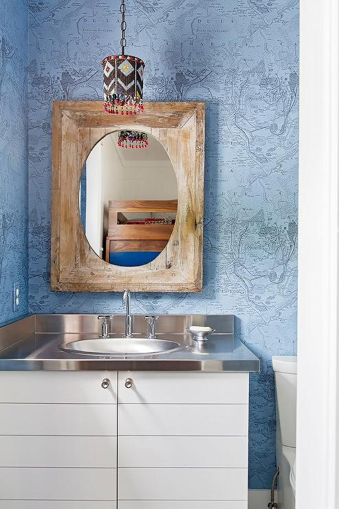 Nautical powder room with blue world map wallpaper and stainless nautical powder room with blue world map wallpaper and stainless steel countertop gumiabroncs Gallery