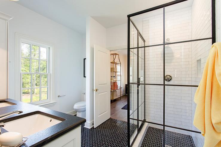 Geometrical Design Bathroom Floor Tile: Corner Steel Shower Enclosure With Black Geometric Floor