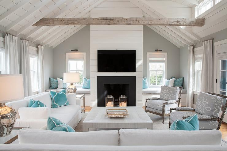 View Full Size White And Gray Cottage Living Room Features A Vaulted Shiplap Ceiling Accented With Rustic Wood Beams Fixed Over