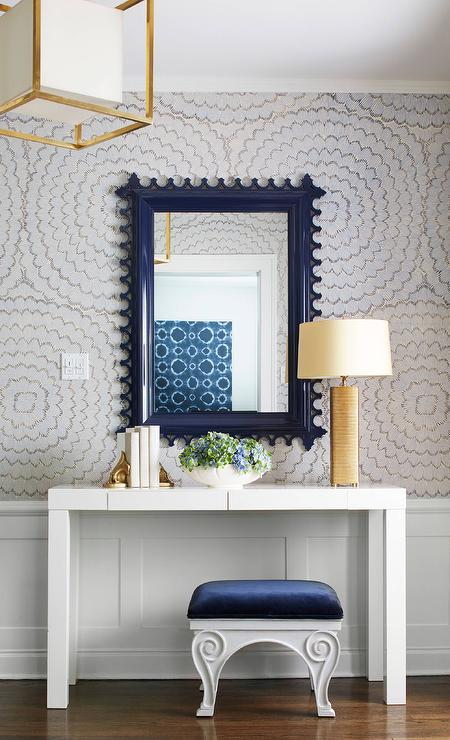 Blue Foyer With Gold Console Table Transitional