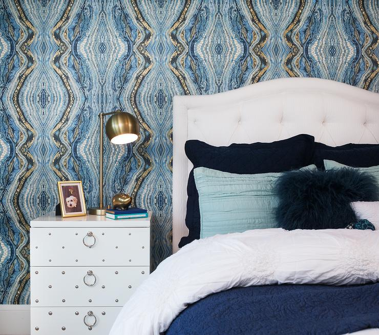 White And Blue Bedroom With White Lacquered Studded