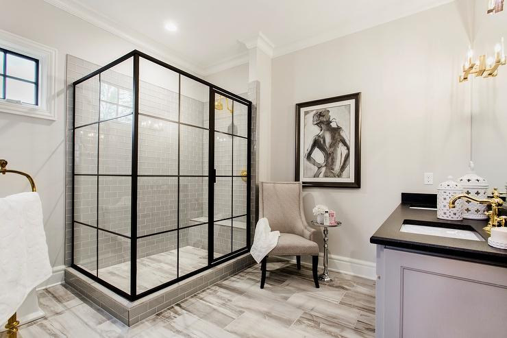 Glass And Steel Shower Enclosure With Gray Subway Tiles