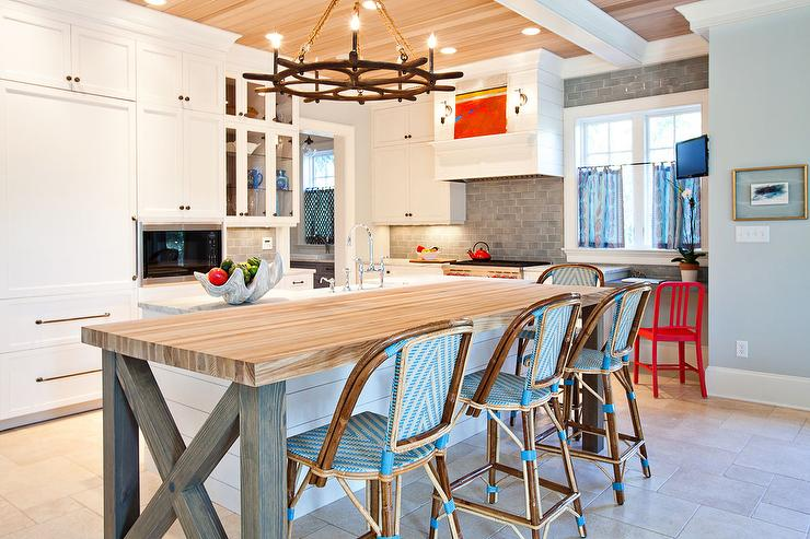 Butcher Block Top Kitchen Island With Turquoise Blue Bistro Bar Stools