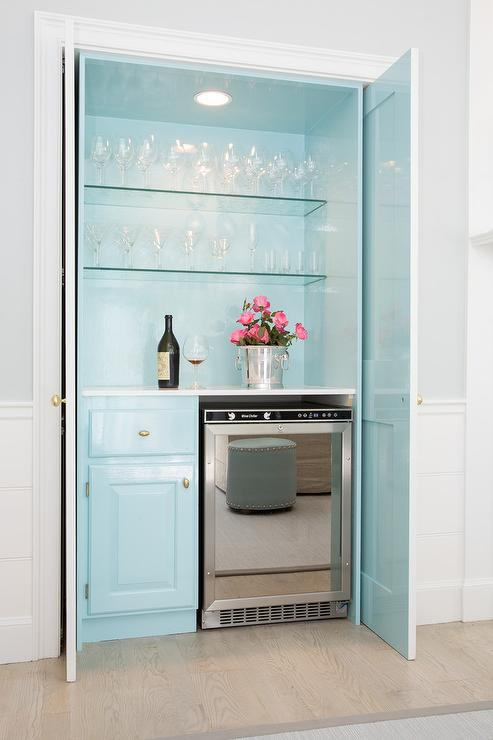 Turquoise Blue Hidden Bar With Fold In Doors Cottage