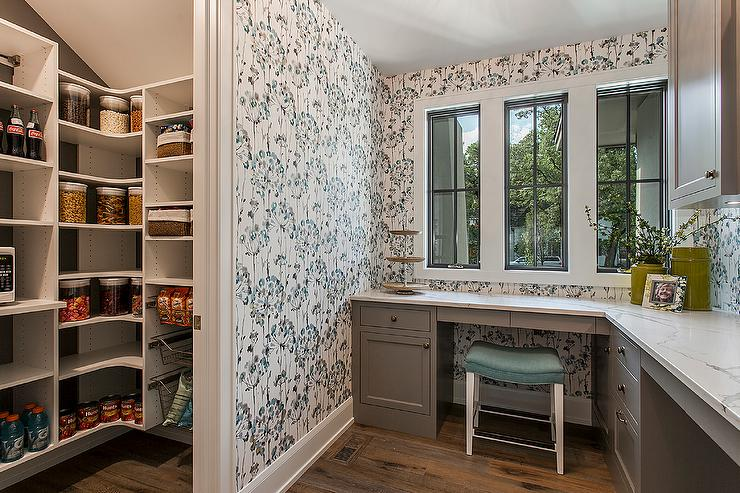 Gray Home Office Next To Kitchen Pantry Transitional Den Library