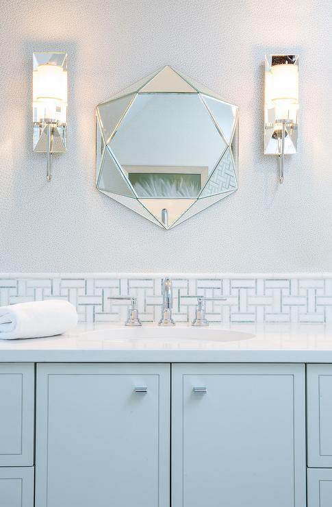 Light Blue Kid Bathroom With White And Blue Mosaic Tiles Cottage Bedroom