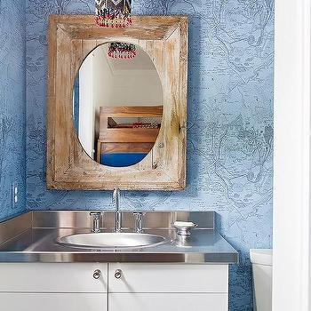 Blue Shiplap Powder Room Cottage Bathroom