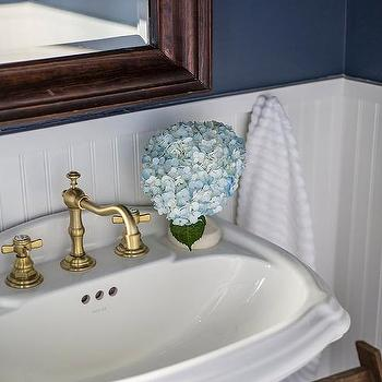 White And Blue Cottage Bathroom With Brass VIntage Cross Handle Faucet