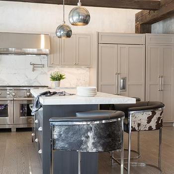 Barrel Back Cowhide Kitchen Counter Stools Design Ideas