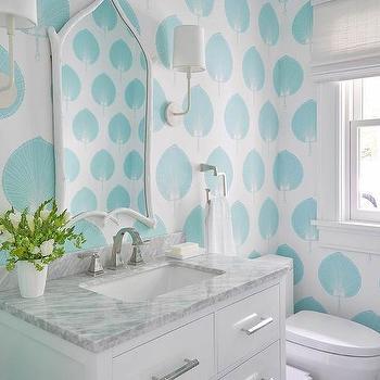 Aqua Blue Powder Room with White Faux Bois Mirror