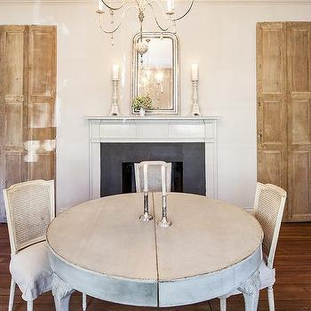 French Dining Room With Fireplace And Silver Beaded Mirror