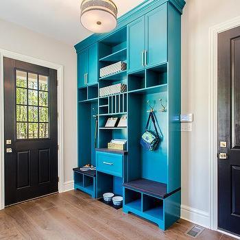 Blue Mudroom Locker Cabinets with red Brick Herringbone ...