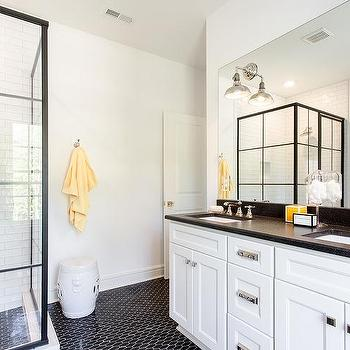 Black And White Bathroom With Steel Shower Doors
