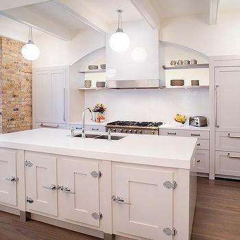 White Kitchen Island With Vintage Latch Handles