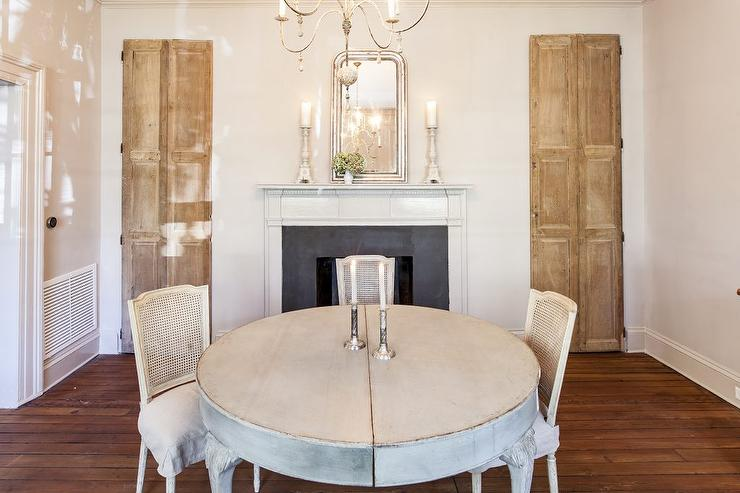 French Dining Room with Fireplace and Silver Beaded Mirror ...