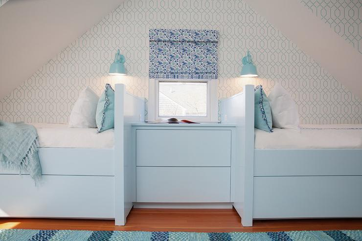 Turquoise Blue Built In Beds With Trundles Under Sloped
