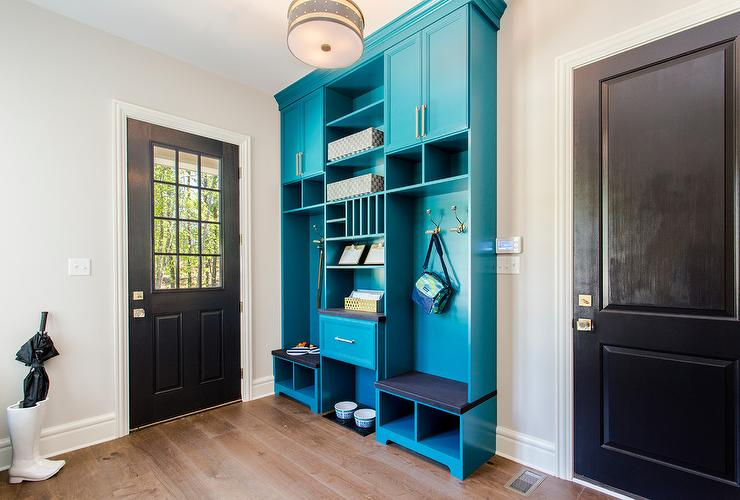 turquoise blue lacquered mudroom lockers and cabinets view full size