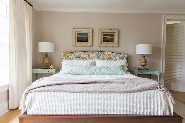 Wonderful Blue and Brown Headboard with Turquoise Nightstands - Cottage  RV27