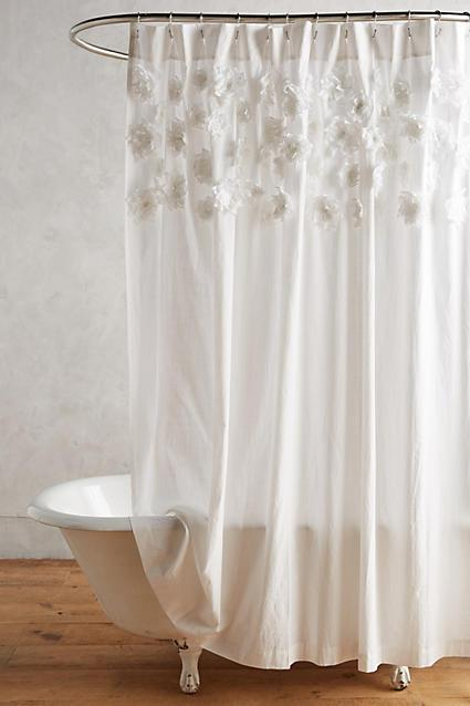 Attached Flowers White Shower Curtain
