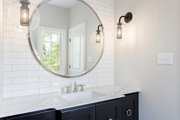 Black and white bathroom with white bamboo mirror - Round mirror over bathroom vanity ...