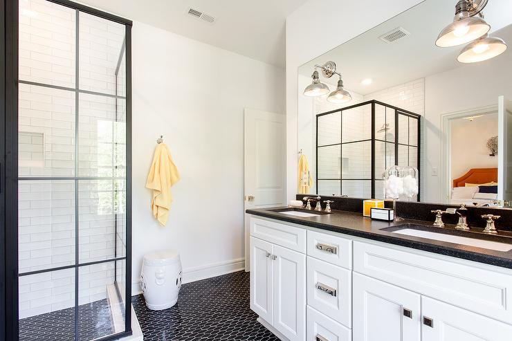 White And Black Bathroom With Yellow Accents