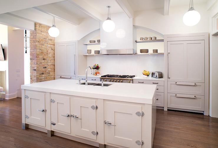 White Kitchen Island with Vintage Latch Handles - Transitional ...
