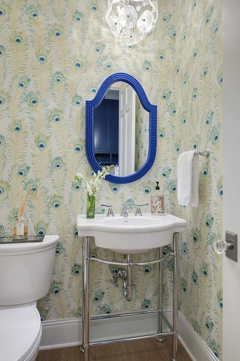 Hot Pink Powder Room With Black Door Contemporary Bathroom