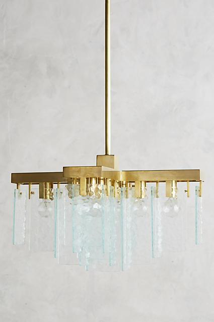 Rippled glass sheets brass chandelier hung rippled glass sheets brass chandelier mozeypictures Gallery