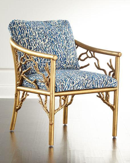 Gold Tree Motif Base Blue Patterned Seat Accent Chair Stunning Patterned Chair