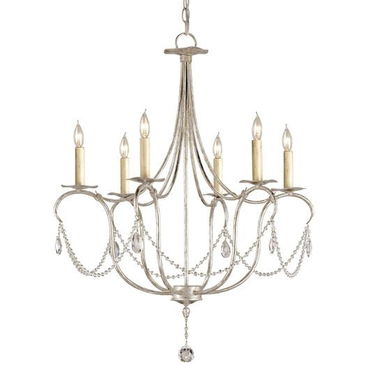 Silver crystals six light candle chandelier aloadofball Image collections