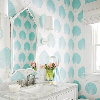 Meg Braff Interiors · White and Aqua Powder Room with Carrera Countertop