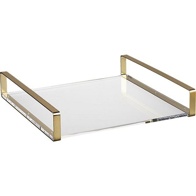 Acrylic Brass Handles Tray