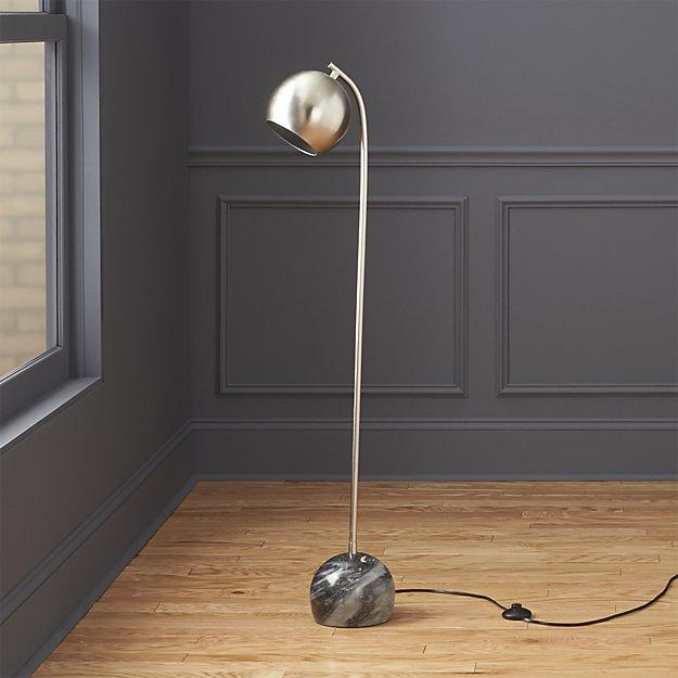 Silver MidCentury Gray Marble Base Floor Lamp