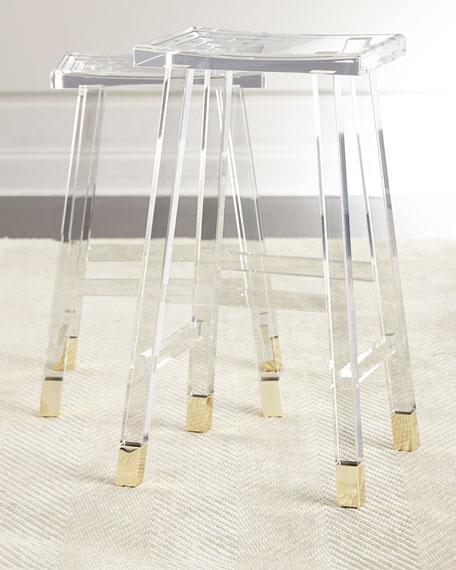Clear Acrylic Brass Detail Bar Stool