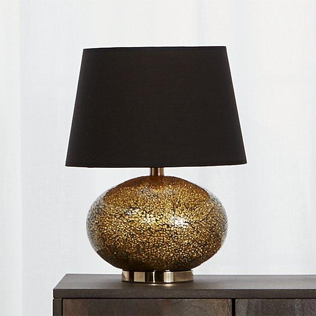 Black And Brass Crackled Glass Table Lamp