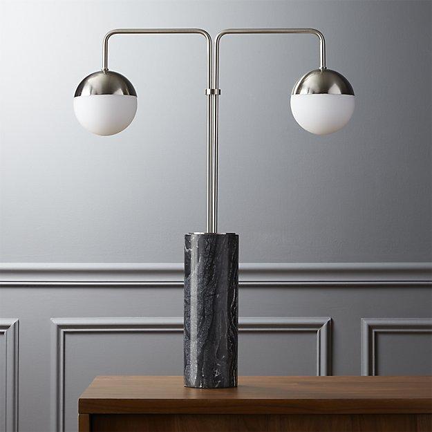 Wonderful Black Marble Nickel Double Globe Table Lamp