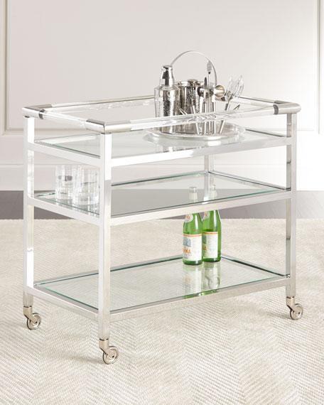 Lovely Three Glass Shelves Nickel Frame Bar Cart EM28