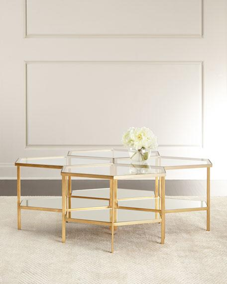 Worthington Hammered Iron Mirror Silver And Gold Coffee Table
