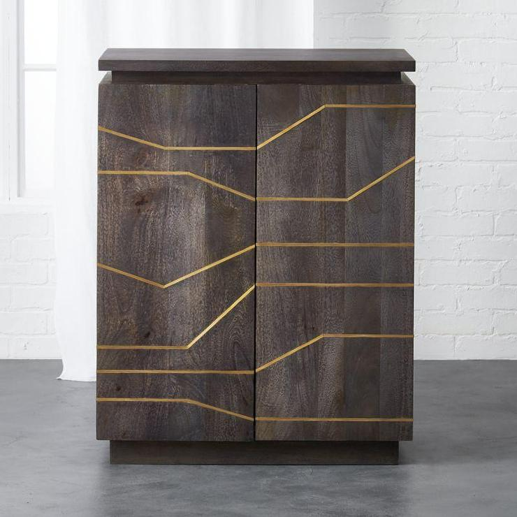 Wooden Brass Inlay Cabinet