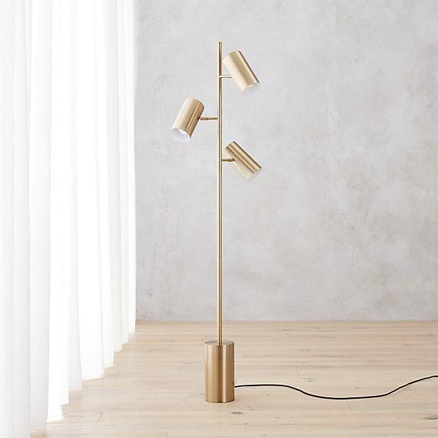 Brass Three Light Cylindrical Base Floor Lamp