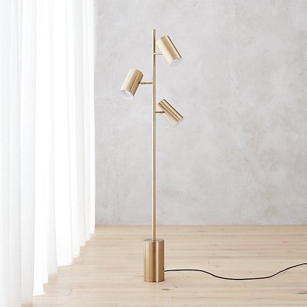 Brass three light cylindrical base floor lamp aloadofball Choice Image