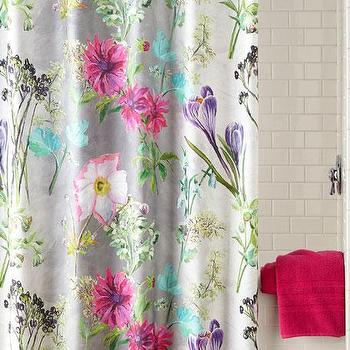 Purple Floral Print Shower Curtain