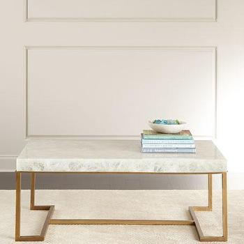 Superieur White Calcite Stone Coffee Table